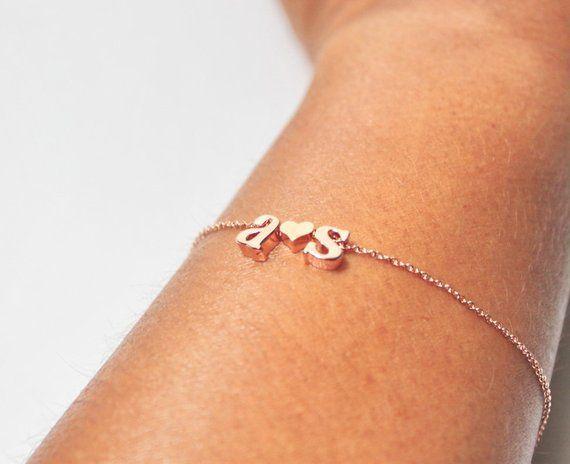 169bb332e5 Personalized Two Letters Bracelet, Monogram Bracelet,Double Initial ...