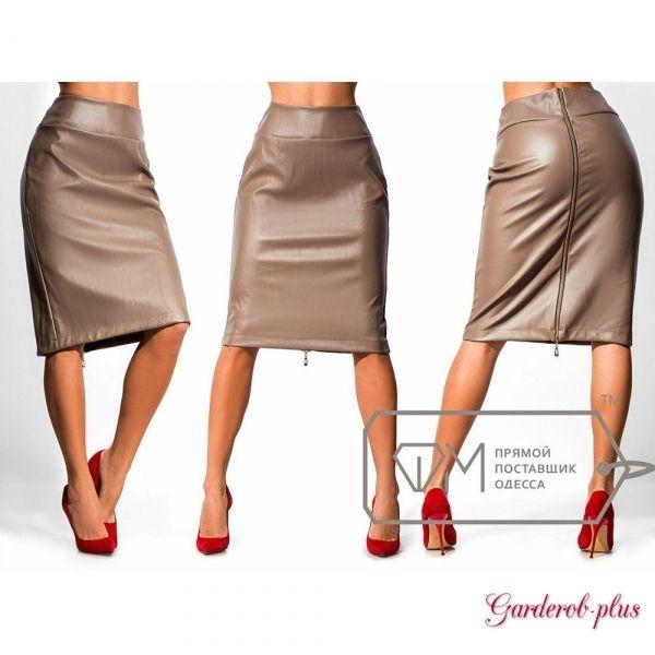Стильная серая юбка из экокожи №6429