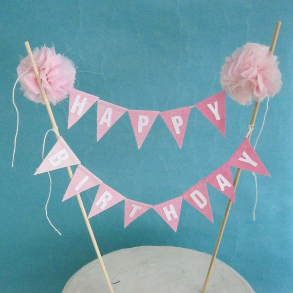 Birthday Cake Banner Pink Ombre Happy Birthday Cake Bunting Topper K304 Pink