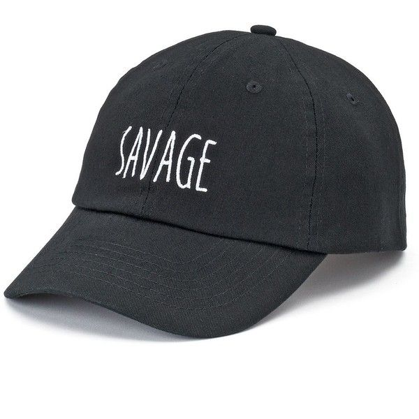 "Women's SO® ""Savage"" Denim Baseball Cap ($8.99) ❤ liked on Polyvore featuring accessories, hats, black, denim cap, embroidered baseball caps, adjustable baseball hats, adjustable caps and denim baseball cap"