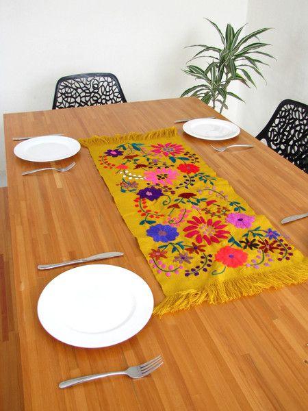 Zina Table Runner Mustard   Chiapas Bazaar   Handmade Blouses, Accessories & Home Decor by Mexican Artisans