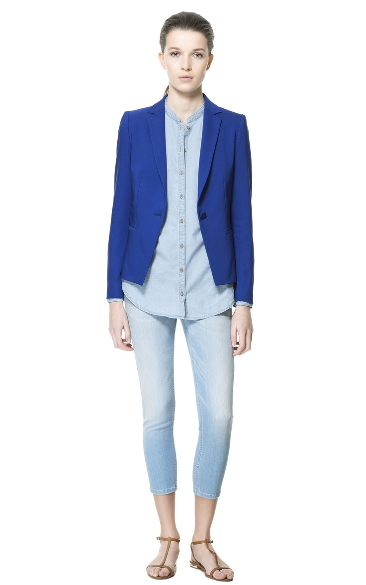 Deep blue - Single button blazer - ZARA Indonesia