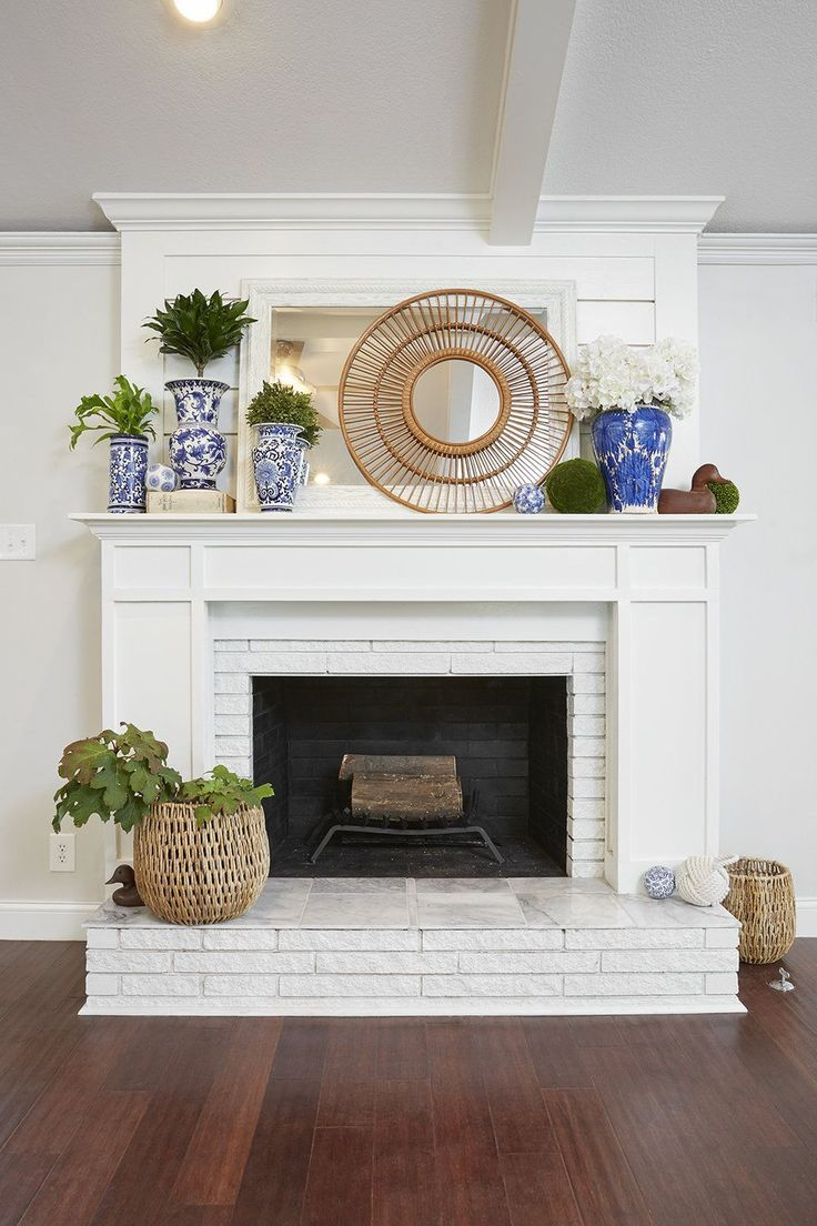 Beautiful Shiplap And Wood Fireplace Mantle Over Painted Brick Remodel Renovation Update To Old Brick White Brick Fireplace Fireplace Remodel Home Fireplace