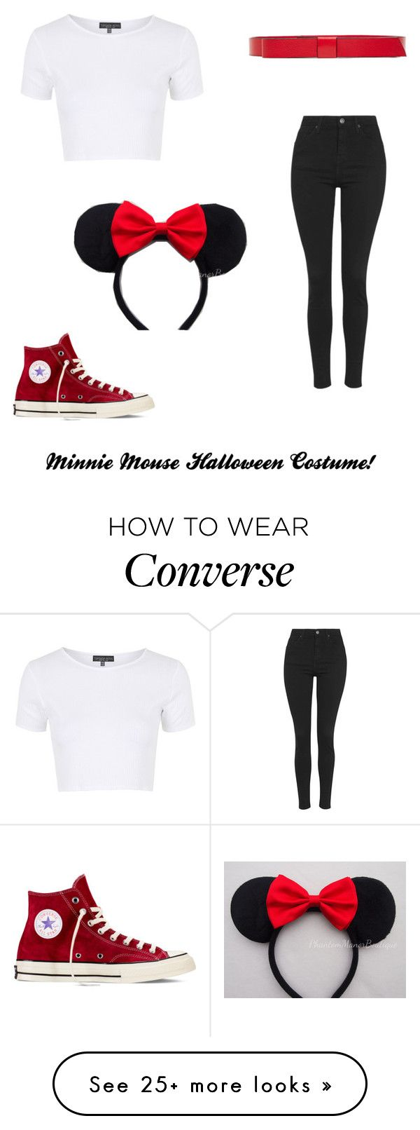 """""""Minnie Mouse Halloween Costume!"""" by jewelqueen on Polyvore featuring Topshop, Marni, Disney and Converse"""