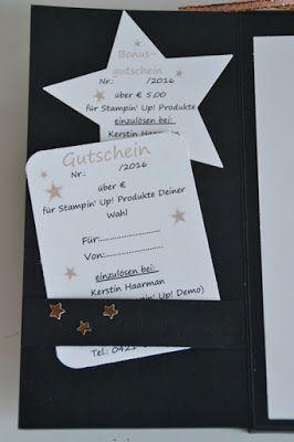 Weihnachtsgutschein, Stampin' Up!, Kreativ-mit-Liebe!, SU, Stempelset Weihnachtspotpourri, Stanze Mittelgroßer Stern, Konfettistanze Sterne