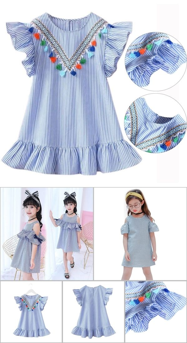 dc7a6f9c33cc2 Summer Girls Tassel Flying Sleeve Dresses Stripe Cotton Cute Kids ...