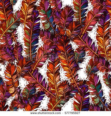 Colorful seamless pattern with bright bird feathers.