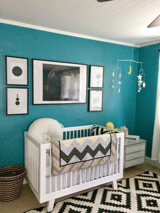 babyletto Hudson Crib in Roscoe's Shared Peacock Blue Nursery & Home Office