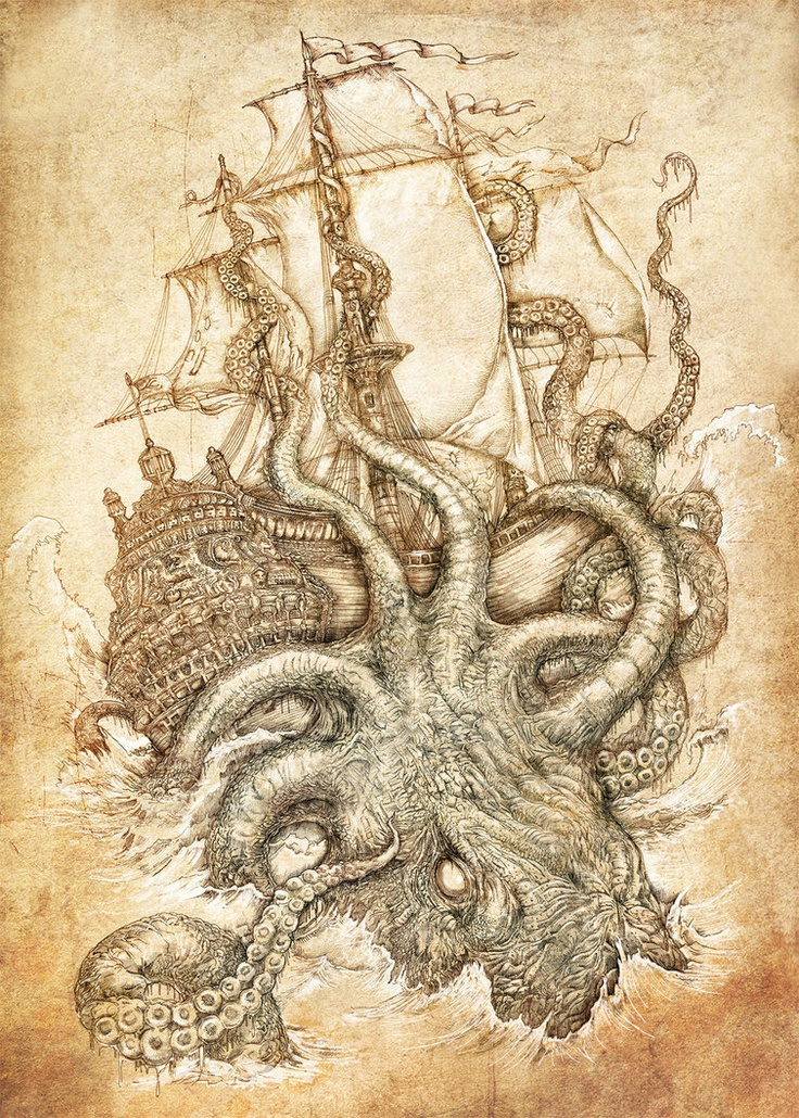 kraken unleashed by *PaperCutIllustration