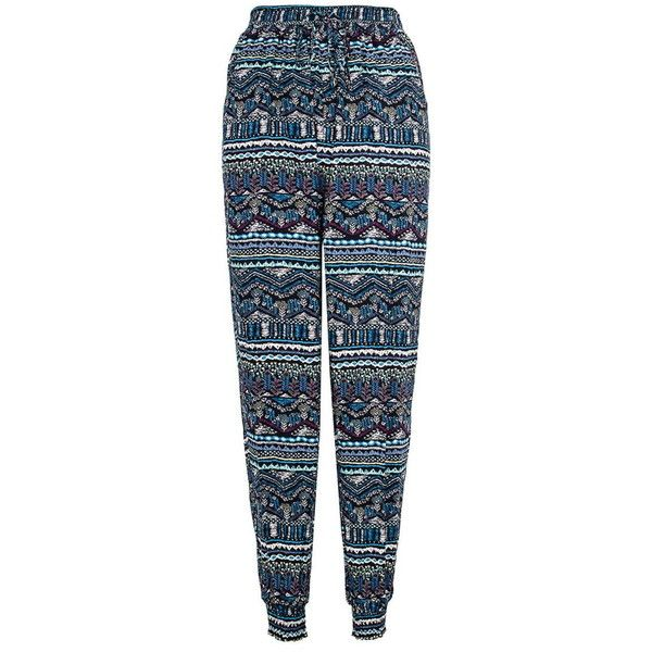 Dorothy Perkins Quiz Blue Aztec Print Trousers (27 NZD) ❤ liked on Polyvore featuring pants, blue, stretch waist pants, loose pants, rayon pants, dorothy perkins and aztec pants