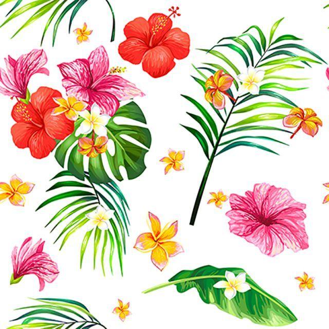 벡터 현실 컷 열대 안녕하세요 원활한 모드 잎사귀 Flower Drawing Seamless Pattern Vector Illustration