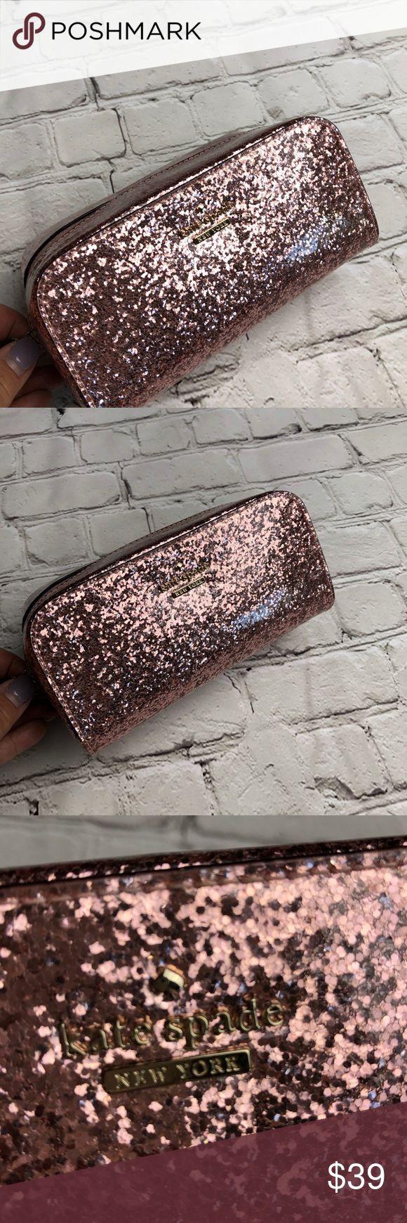 Kate Spade pink glitter make up bag Kate spade pink