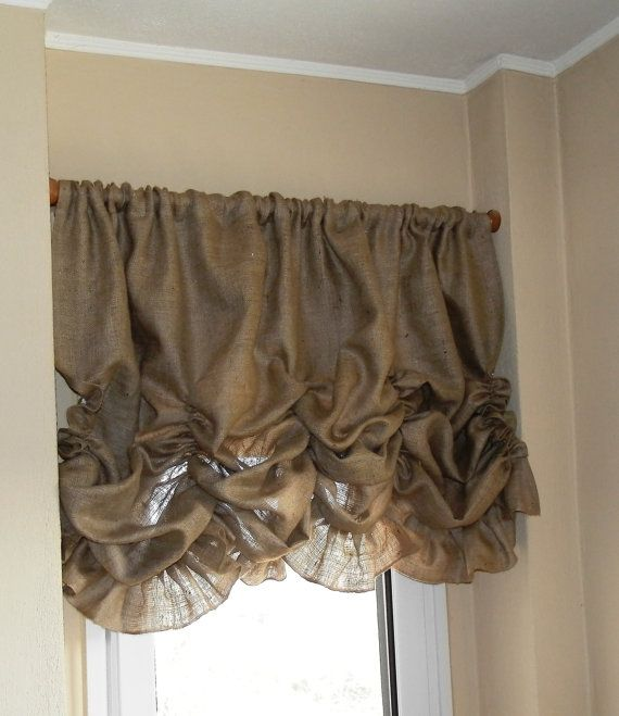 Do you want to change your room view? Using burlap valance is one of great ideas that you can use to make your room looks more beautiful. Curtain Panel details: * 84 wide x 36 length ** 3 rod pocket (the size of rod pocket can be changend) *** Hemmend on all sides *** This listing is for one panel. Need another size? Contact me and I will create a custom listing for you! Thank you for looking