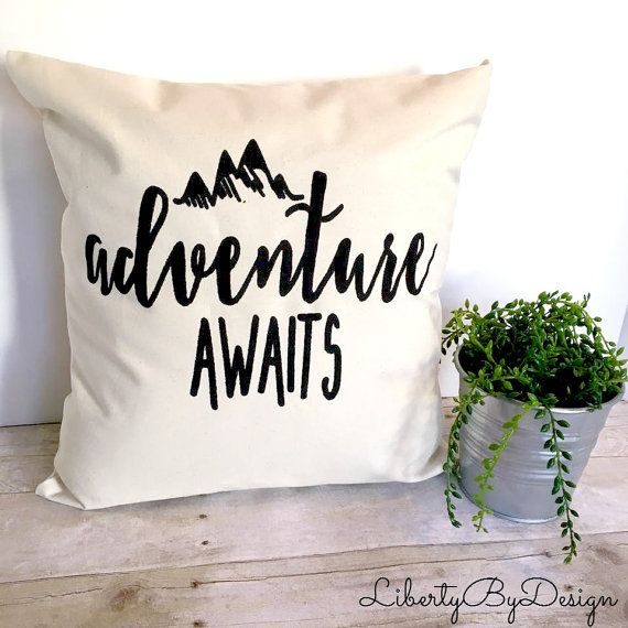 Pillow Cover, Adventure Awaits 16x16, Cushion Cover, Throw Pillow, Housewarming Gift, Personalized, Monogram