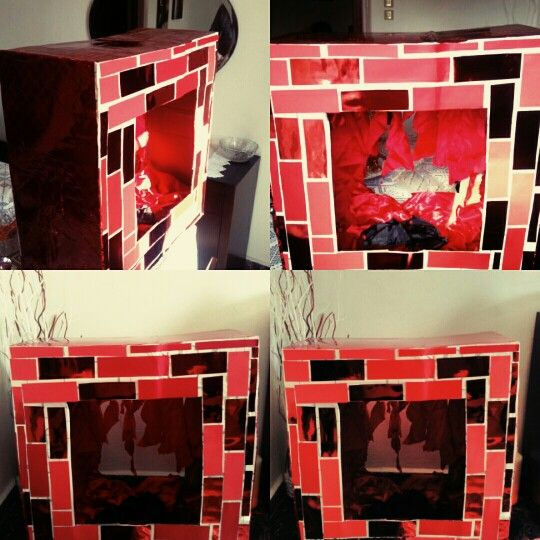 Diy fake fireplace,carton, christmas fireplace