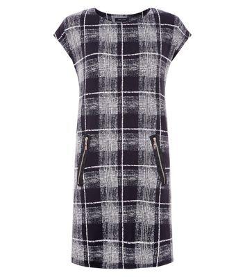 New Look: Black Fuzzy Check Print Zip Pocket Tunic Dress
