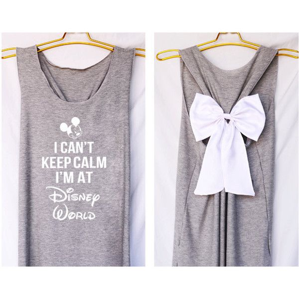 I'can keep calm i'm at Disney world Mickey Tank Premium with Bow ($36) ❤ liked on Polyvore featuring tops, henley tank top, disney, bow tank top, fish tank and henley tops