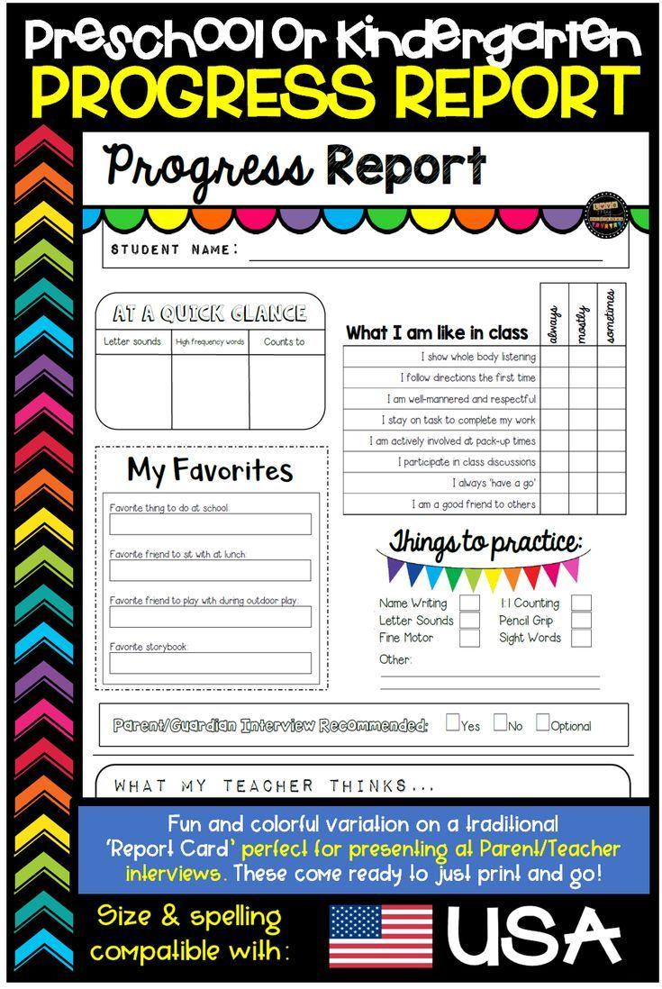 Report Card Template Progress Report Template Editable Usa