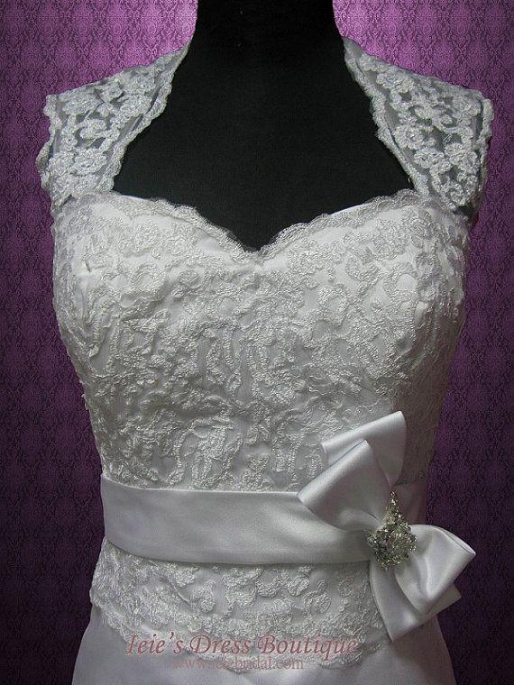 Gorra estilo vintage mangas vestido de novia de encaje por ieie