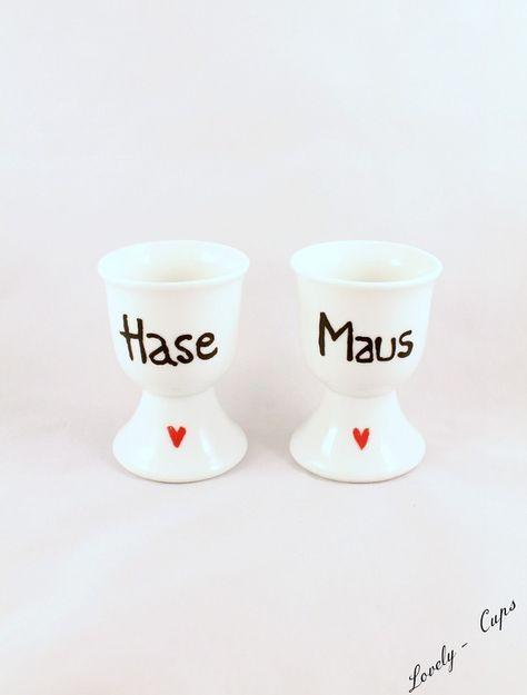 Kleines Ostergeschenk: Eierbecher mit Kosenamen Hase und Maus für Verliebte/ small Easter present: egg cups for couples made by Lovely-Cups via DaWanda.com