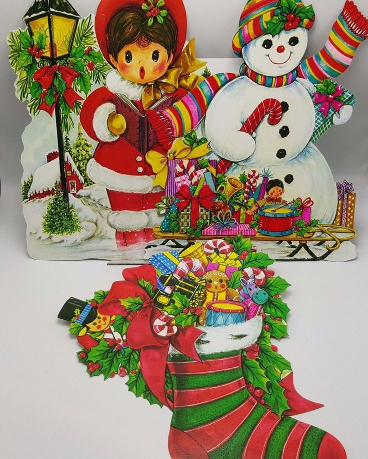 Vintage Cardboard Christmas Decorations Stocking Snowman Caroler Puppy Lot 3