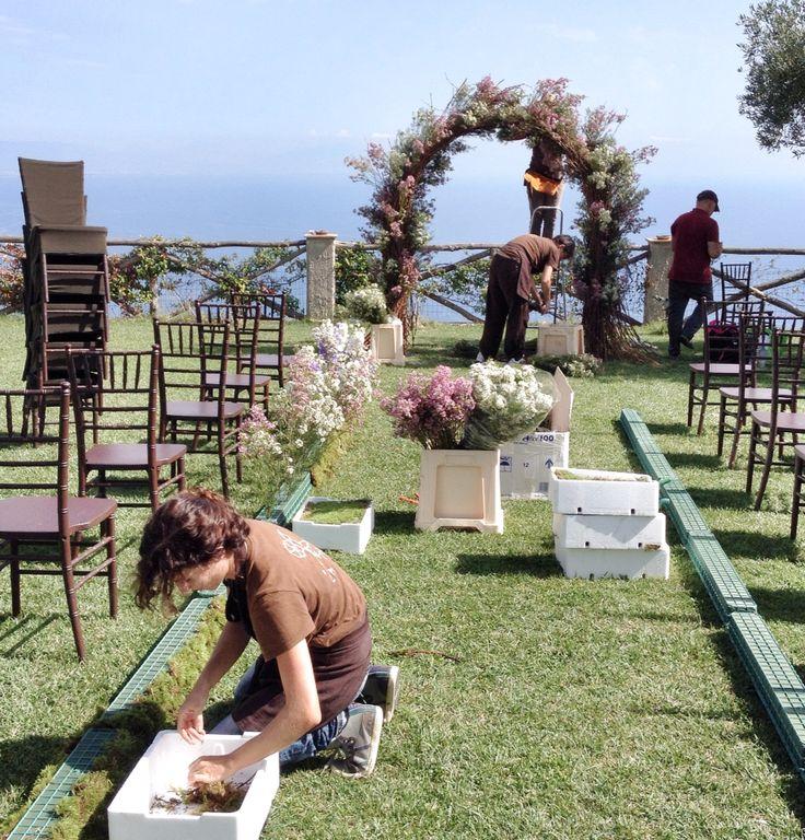 The ceremony area set up