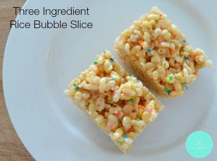 Three Ingredient Rice Bubble Slice