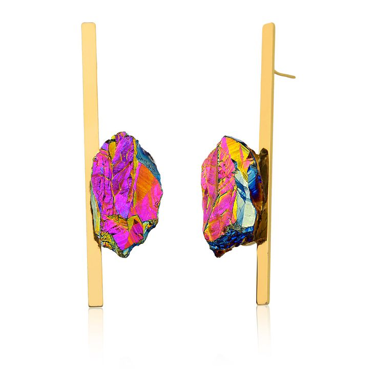 #earrings #jewelry #fashion #accessories #crystal #bokd #customjewelry #statement #rhodium #raw #stone #modern #contemporary #unique #design #wearableart #urock #mariadolores #braziliandesigner #gioielli #gold #glam #art #multicolored #ionized #hologram #earparty #trendy #80's #eighties #jewelery #jewel #rockandroll #rockie #rocky #edgy #style