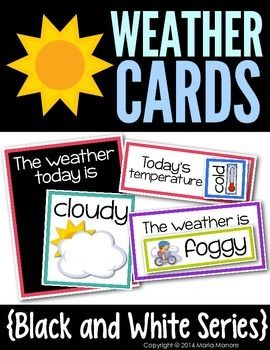 Review the weather each day with this set of Weather Cards. Use the cards to label the top with you classroom calendar to discuss and display the daily weather forecast. The set includes three different sized sets of weather cards, and 3 different sized background pieces that say Todays temperature and The weather today is.