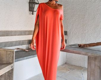 Fall Winter Knitted Asymmetric Maxi Dress Kaftan / Winter Warm Long Dress / Asymmetric Plus Size Dress / Oversize Loose Dress / #35147  A very elegant maxi creation...! You can wear it everyday or in a special occasion..!   - Handmade item  - Materials : Warm Knitted Stretch Fabric  - The model wears : size - small - Fit : Loose fit  - Length : 150 cm / 59 inches ** If you desire different length, please write it in the notes area.  - Machine or hand wash cold 30 degr...