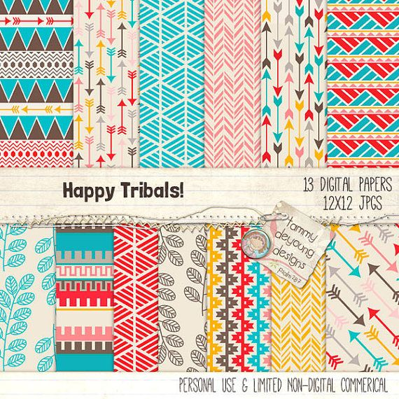 Tribal Digital Paper *Happy Tribal Backgrounds* arrows and Aztec  geometric style patterns in bright happy colors!