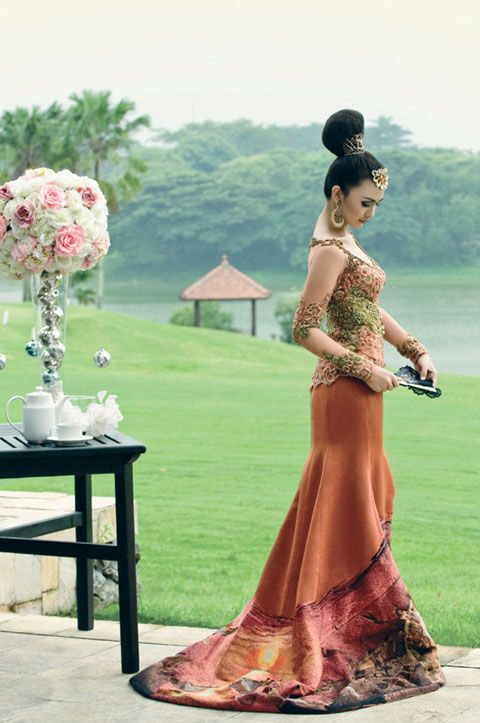 pretty Indonesian woman wearing beautiful kebaya, Traditonal Indonesian Gown