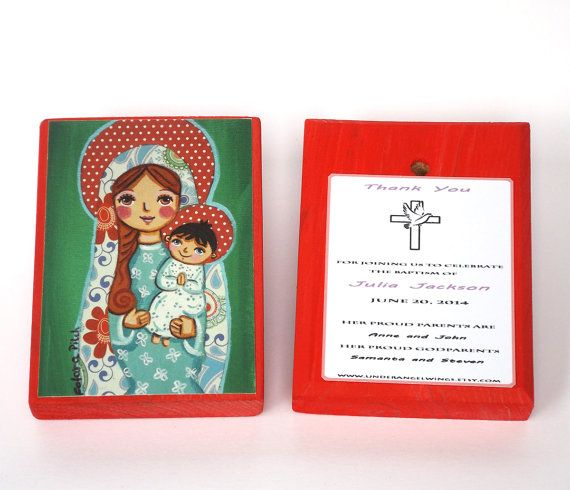 Mother Mary Wood block print Baby Jesus print on wood Boy christening favors Personalized baptism favors for girls First communion favor