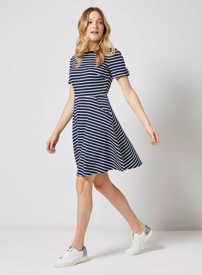 5dd1a9823948 Navy Stripe Print Short Sleeve T-Shirt Dress in 2019 | Dotty Polka ...