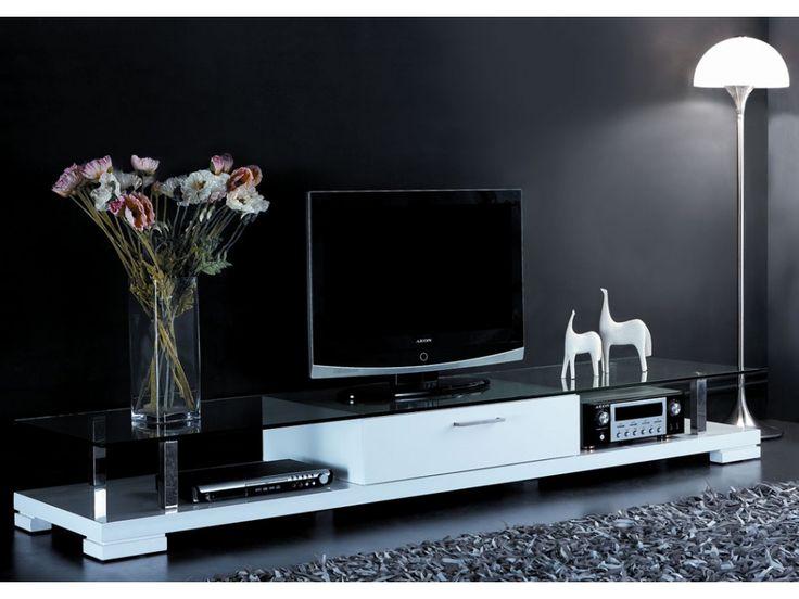 Meuble TV CRISTO - Laqué blanc