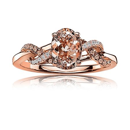 JK Crown: Oval Morganite Ring with Champagne & White Diamonds in 10k Rose Gold