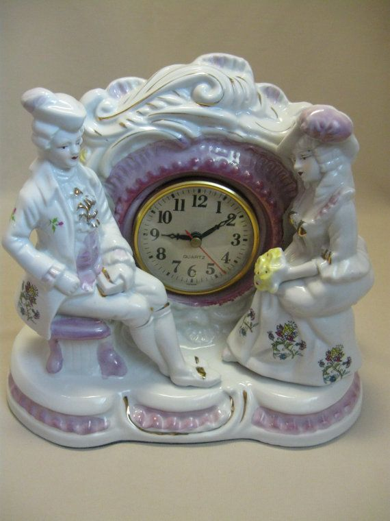 $24.95 Victorian Mantel Clock  Figurines Loving Couple by NANCYSANTIQUES
