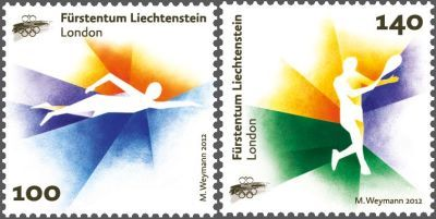 olympic stamp london2012  Liechtenstein