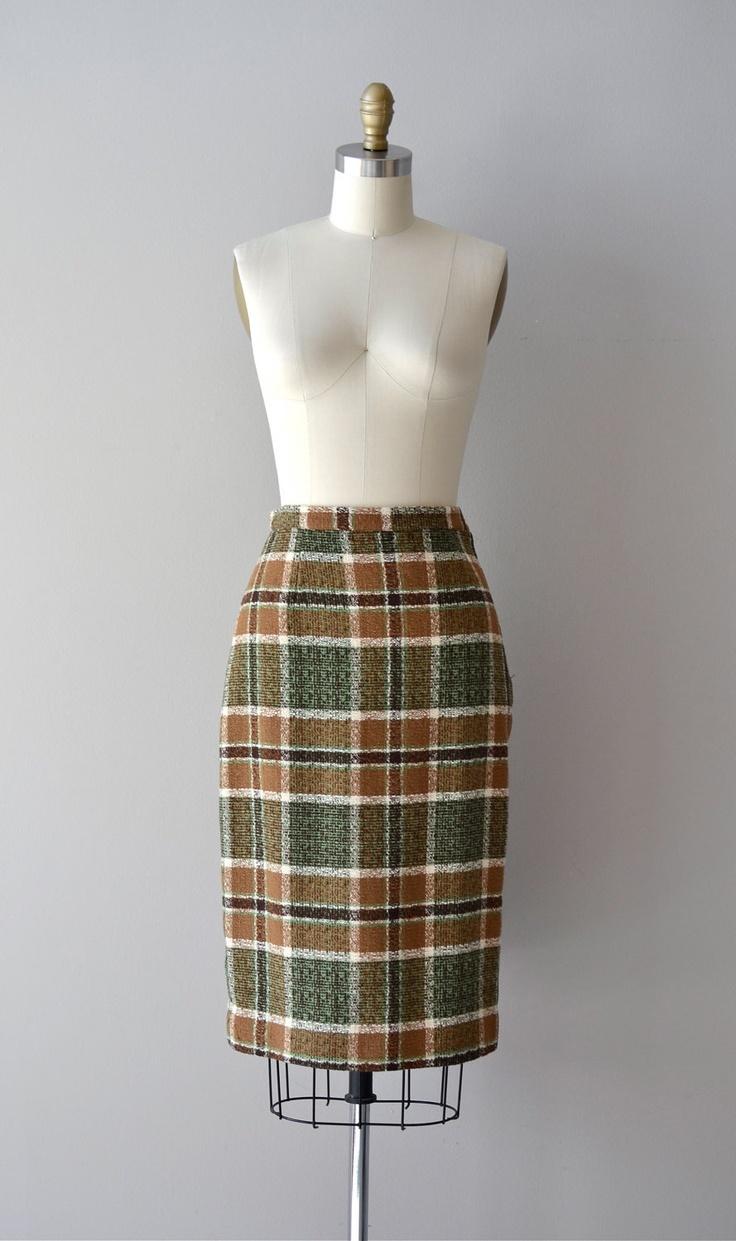 1960s skirt pencil skirt plaid wool skirt dunderry