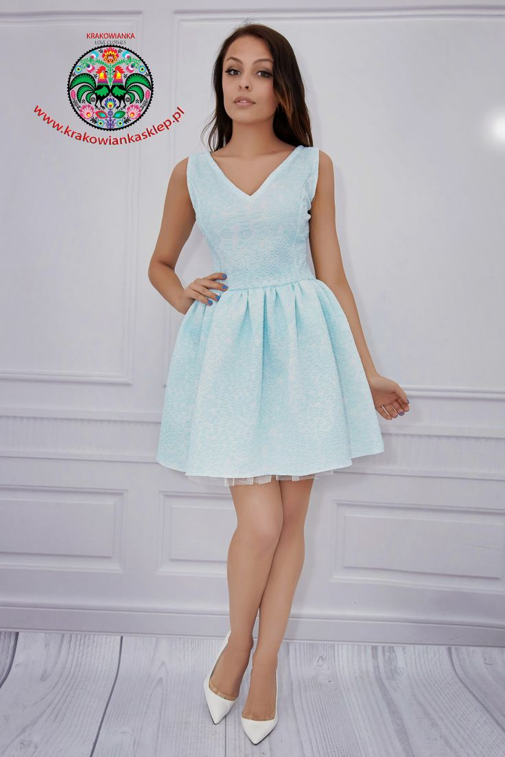 elegancka pastelowa sukienka - www.krakowiankasklep.pl