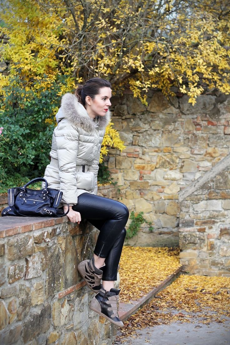 leather pants dawn jacket wedges sneakers beige and black with two fantastic dogs :D www.ireneccloset.com
