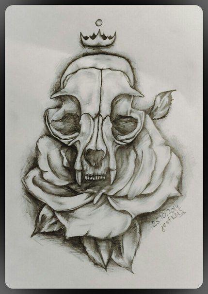 эскиз череп роза