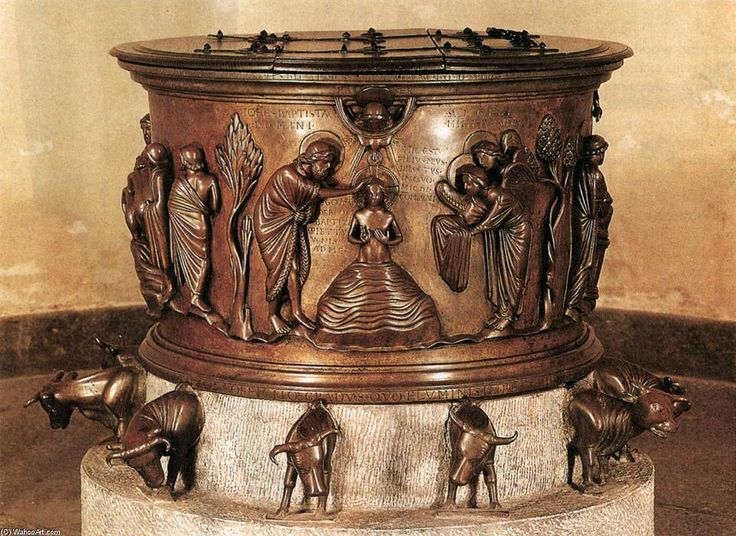 [Rainer of Huy, Bronze Baptismal Font, Bronze, Holy Roman Empire]  The earliest and clearest manifestation of the characteristic classicizing style is the bronze font. (Oxford Art Online) It is a Bronze basin. Christ, human figures, and oxen were carved in relief. There are a dozen of oxen, and they might have been depicting the central scene on the Romanesque font. (Kleiner 449)