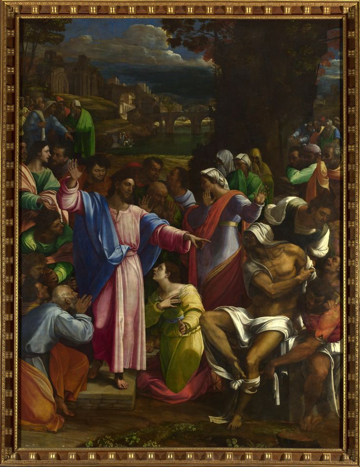 "SEBASTIANO del Piombo , about 1485 - 1547 ""The Raising of Lazarus"" Date: about 1517-19 Medium: Oil on canvas, transferred from wood Dimensions: 381 x 289.6 cm This work was painted for Cardinal Giulio de' Medici in Rome in competition with Raphael's 'Transfiguration', now in the Vatican Gallery. The National Gallery."