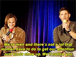 "gif of jensen's response to a fan asking ""what is the craziest thing a female fan has done to attract your attention?"""
