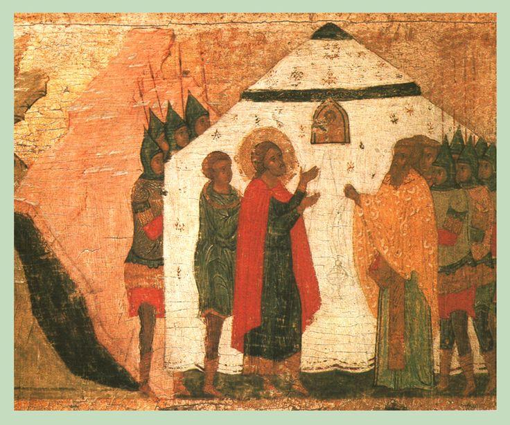 Начало XVI в. Владимир, Борис и Глеб с житием.  Бориса и Глеба. Клеймо.  Борис молится перед шатром