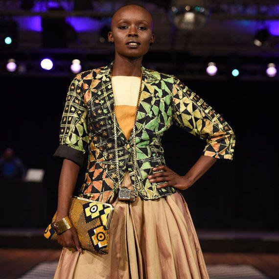 African Indigo Citrus Batik Blazer Nigerian Tie Dye by Urbanknit
