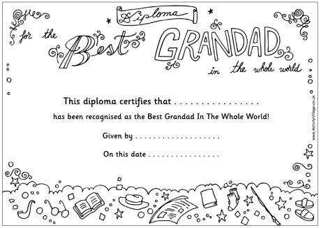 quot Best Grandad quot certificate there