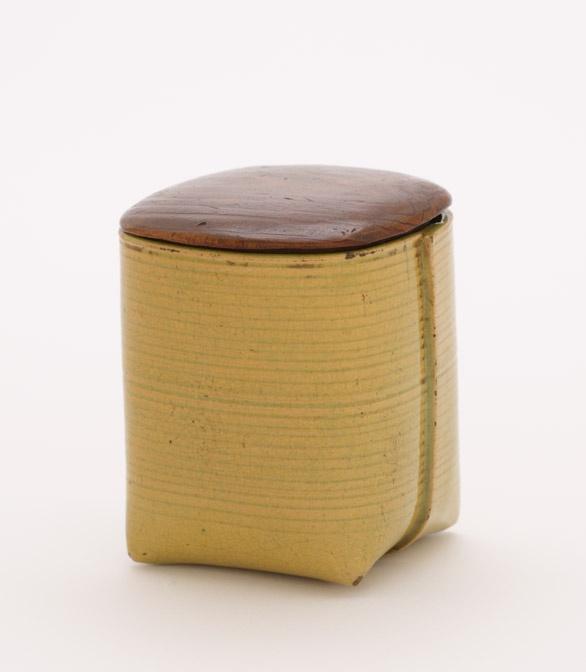 Aya Ware Tea Container 18th 19th Century Edo Period Stoneware With Enamel  Glaze; Wooden