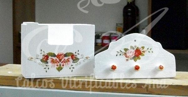 Calco de rosas victorianas sobre madera.: Photo, Calcos Vitrificables, Calco De